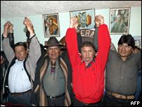Evo Morales junto a sus aliados.