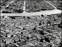 Destroyed Tokyo streets along the Sumida River