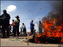 Burning roadblocks in Bolivia. Archive picture