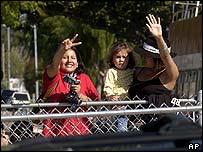 Jackson fans wave outside courtroom