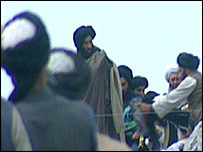 Mullah Omar (C) and Taleban leaders