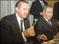 Turkey's Prime Minister Tayyip Erdogan breaks his Ramadan fast with chicken salad