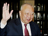 Hong Kong's leader Tung Chee-hwa before announcing his resignation