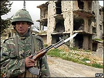 A Syrian soldier in the Bekaa valley in Lebanon