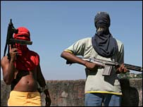Youths with their guns in a Rio favela