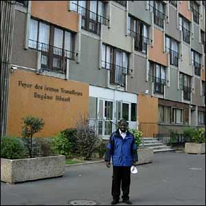 Adama Bathily outside the hostel