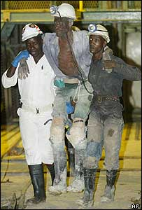 Miner being rescued