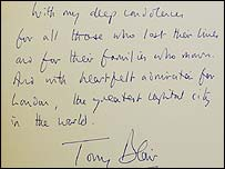 A message from Prime Minister Tony Blair written at London's City Hall