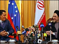 Hugo Chavez and Mohammad Khatami in Tehran, 28 November 2004