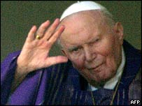 Pope John Paul II at his hospital window