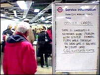 Sign telling customers about the Oyster Card collapse