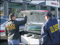 US Customs officers make a raid
