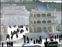 Snow carvings at a festival near Shenyang, north China