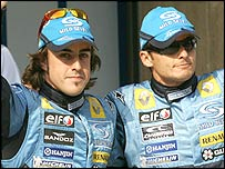 Renault duo Fernando Alonso and Giancarlo Fisichella celebrate their one-two in China qualifying