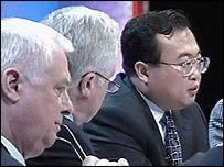 Chris Patten, David Dimbleby and Liu Jianchao