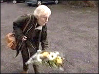 Isobel Hulsmann, Daniel Morgan's mother, at the spot where he died 18 years ago