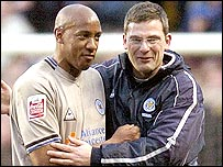 Dion Dublin and Leicester manager Craig Levein celebrate the FA Cup win over Charlton