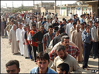Voters waiting to vote in Mosul