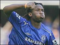 Didier Drogba celebrates scoring the first of his two goals for Chelsea against Bolton