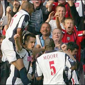 West Brom celebrate Darren Carter's goal