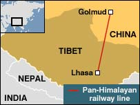 Map showing the extent of the pan-Himalayan line