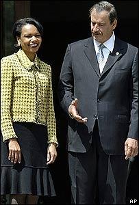 La secretaria de Estado de EE.UU., Condoleezza Rice con el presidente de México Vicente Fox