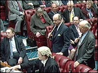 The House of Lords voting late Thursday