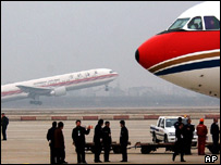 Two planes at Shanghai International airport, China