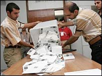 Iraqi referendum officials count votes in Baghdad, Iraq