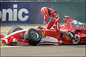 Michael Schumacher crashes on the practice lap in Shanghai