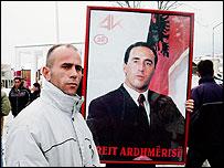 Kysmet Kadrijaj at the protest in Decani