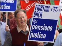 A protester at a pensions rally