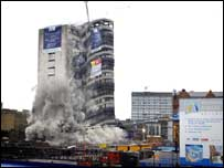 The 19-storey Churchill House collapsed in seconds
