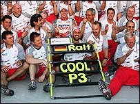 Toyota celebrate after Ralf Schumacher finishes third in China