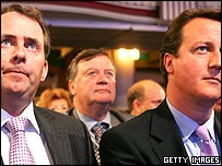 Liam Fox, Ken Clarke and David Cameron, from left to right, at Conservative Party conference
