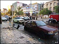 Blast scene in Ahwaz, Iran