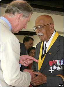 Charles met Fiji's oldest resident Bechu Prasad, 104, in Sabeto