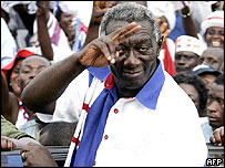 Ghana's President John Kufuor, re-elected in 2004