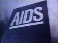 graphic from the 1980s AIDS campaign