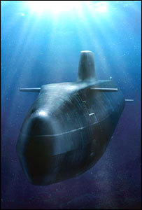 A computer generated image of an Astute class submarine