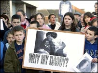 Children at a commemoration rally for Robert McCartney