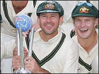 Aussie captain Ricky Ponting lifts the Super Series trophy