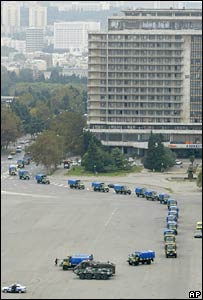 A convoy of military trucks in Baku on 17 October 2005
