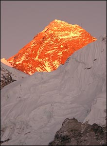 Photo of Everest at Sunset in vivid oranges and yellows