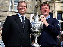 Prince Andrew and Stuart Wilson with British Amateur trophy at St Andrews