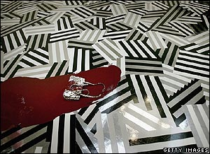 The floor of Jim Lambie's exhibition