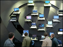 Laptops on display at Cebit, AFP