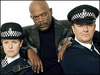Ashley Jensen, Samuel L Jackson and Ricky Gervais in Extras