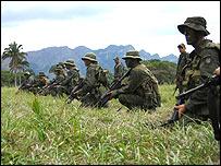 Junglas soldiers comb the rainforest