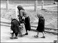 Hungarian Jews at Auschwitz during World War II